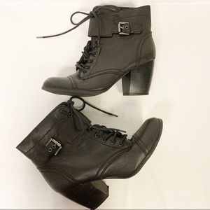 Charlotte Russe Black Heeled Boots with buckle